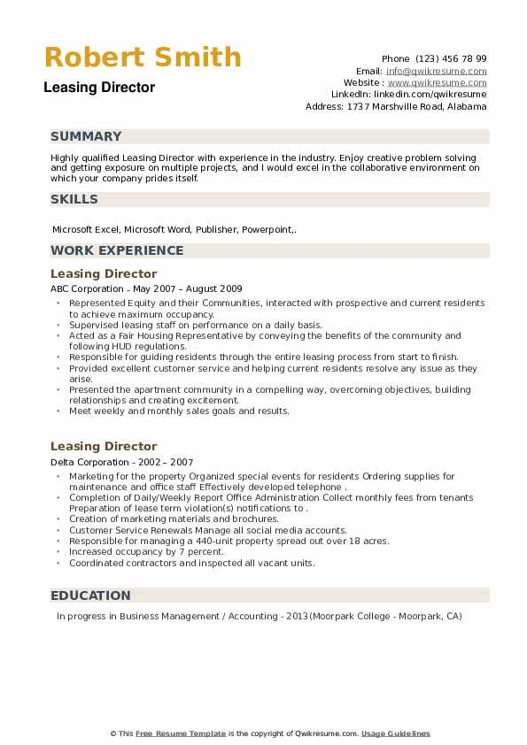 Leasing Director Resume example