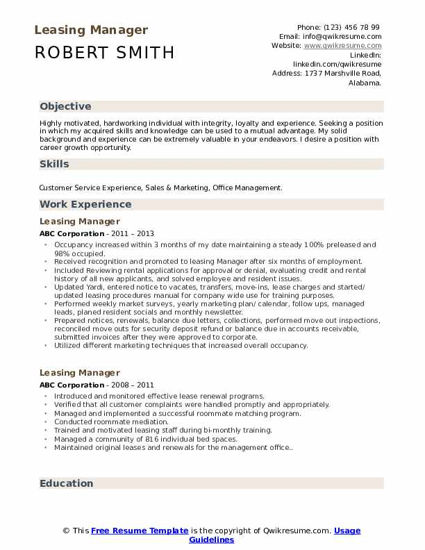 Leasing Manager Resume Sample
