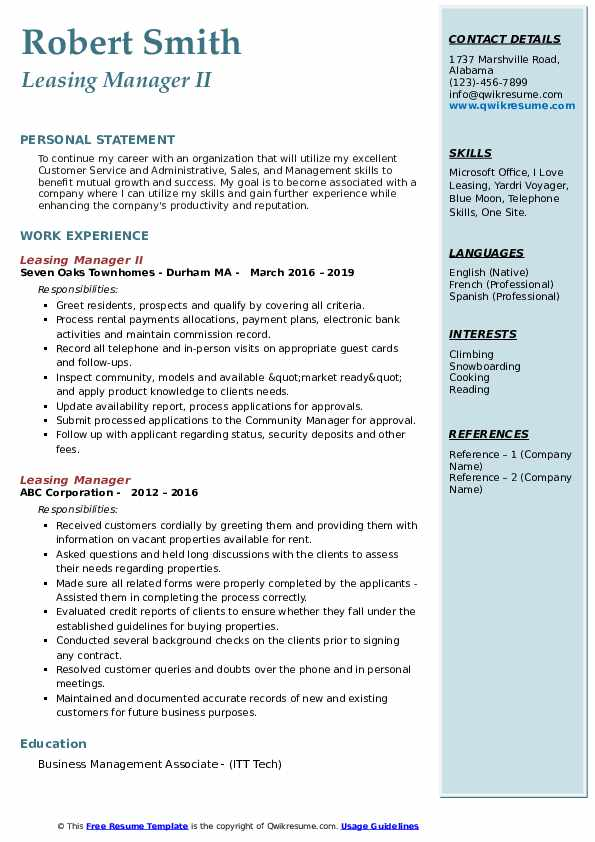 Leasing Manager II Resume Template