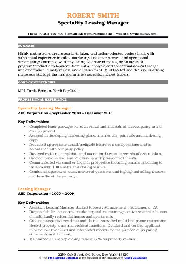 Speciality Leasing Manager Resume Template