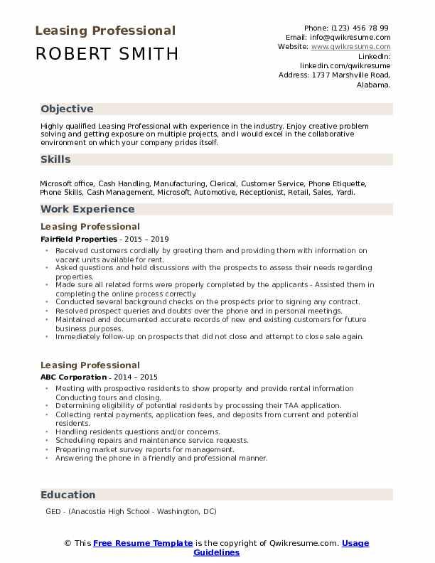 Leasing Professional Resume Samples | QwikResume