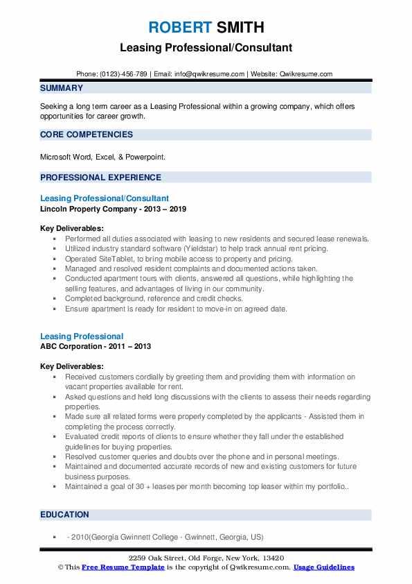 Leasing Professional/Consultant Resume Format
