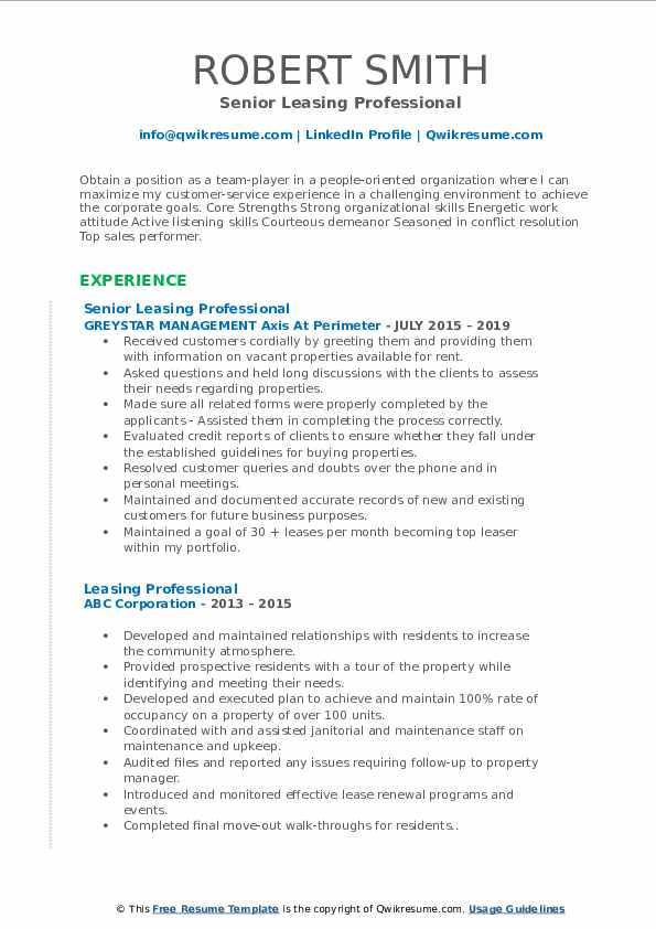 Senior Leasing Professional Resume Model