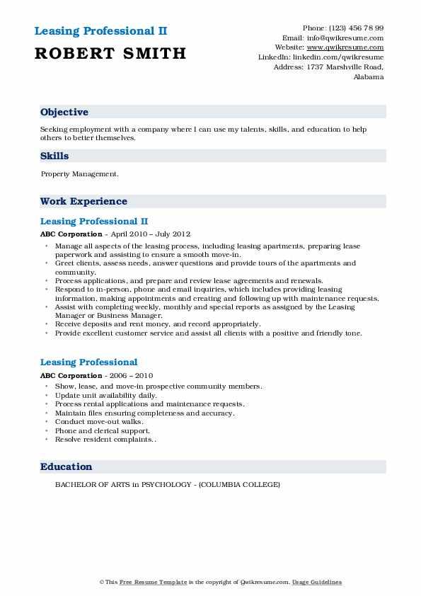 Leasing Professional II Resume Example