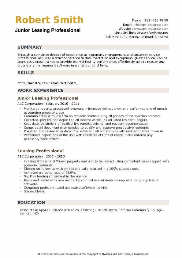 Junior Leasing Professional Resume Format
