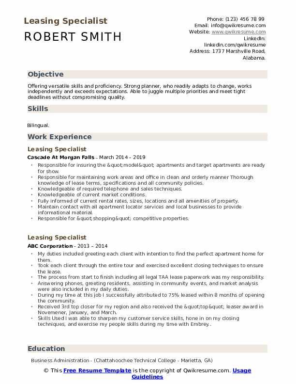 Leasing Specialist Resume Sample