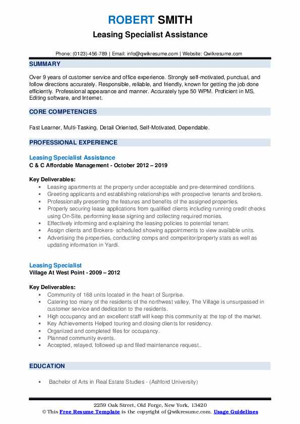 Leasing Specialist Assistance Resume Format