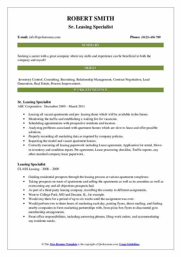 Sr. Leasing Specialist Resume Example