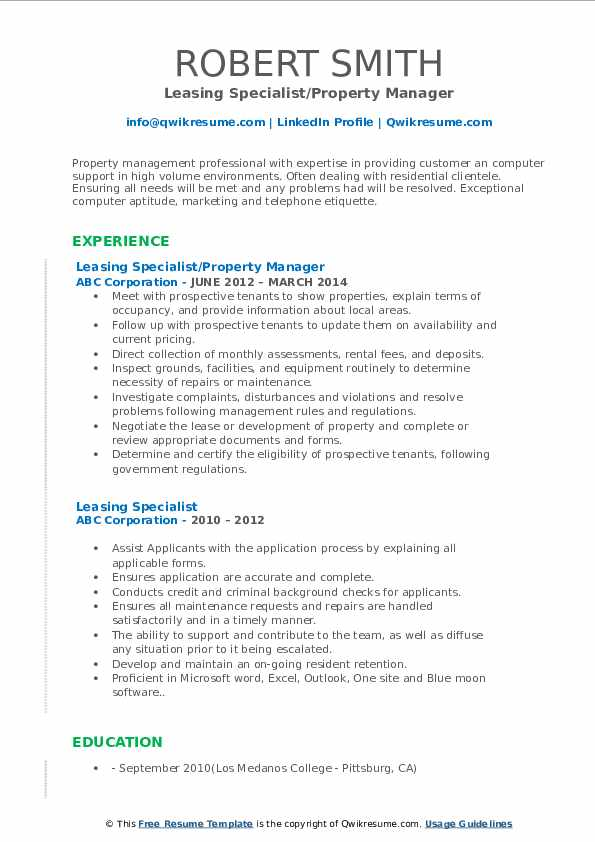 Leasing Specialist/Property Manager Resume Format