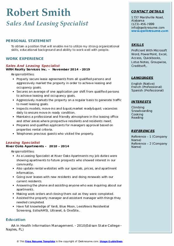 Sales And Leasing Specialist Resume Format