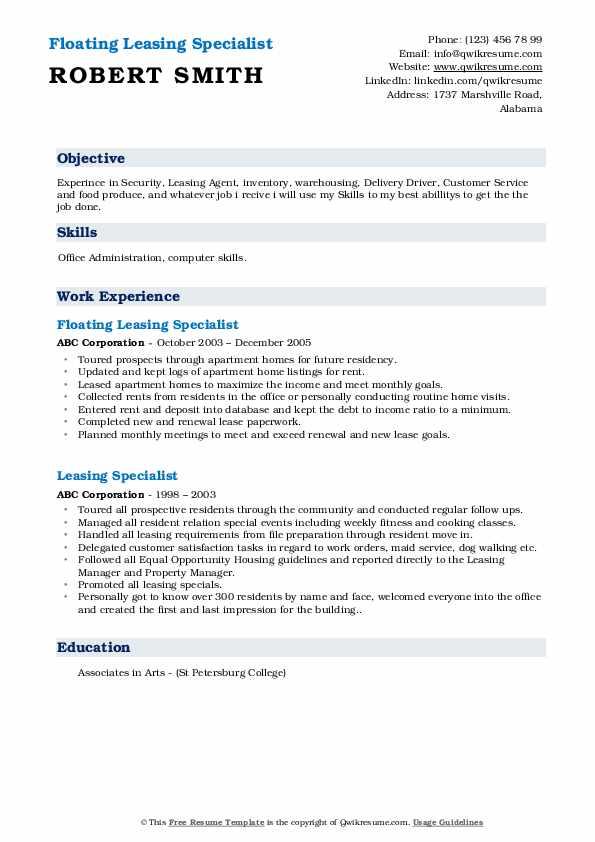Floating Leasing Specialist Resume Model