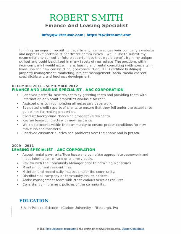 Finance And Leasing Specialist Resume Model