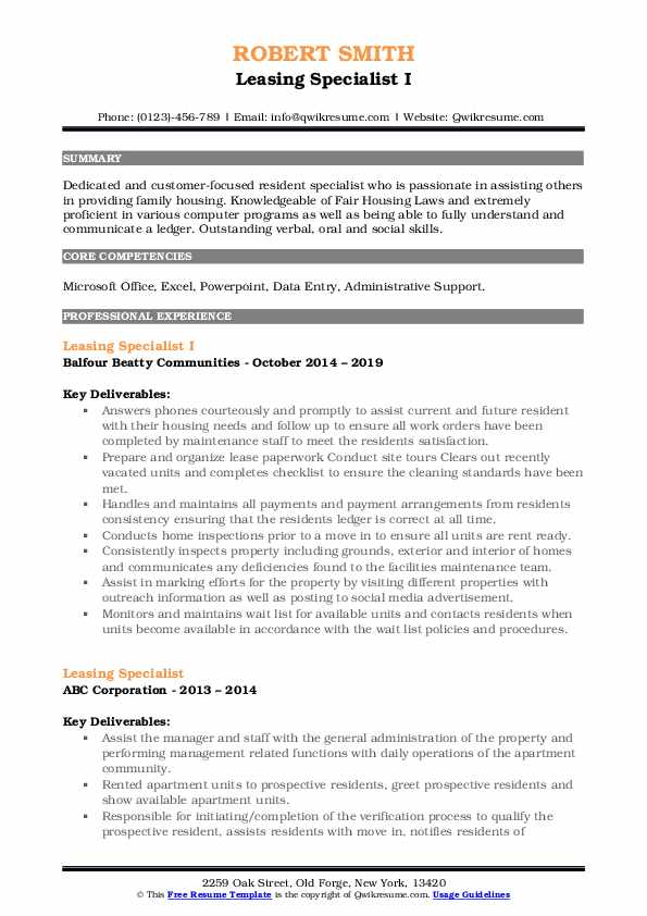 Leasing Specialist I Resume Template