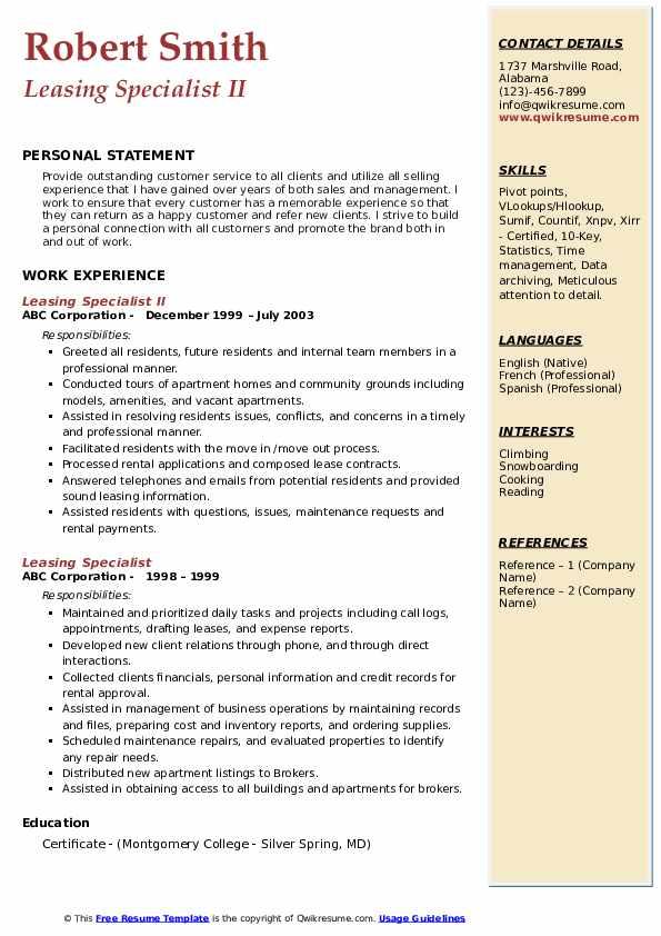 Leasing Specialist II Resume Model