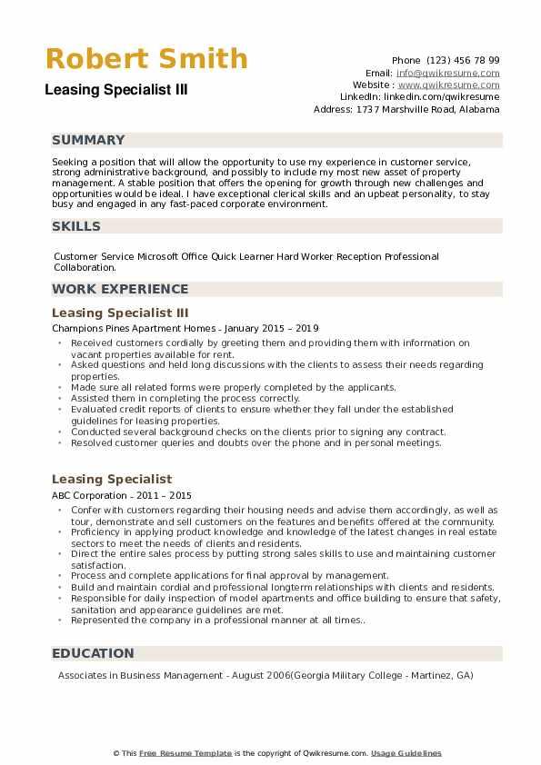 Leasing Specialist III Resume Format