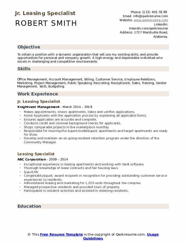 Leasing Specialist Resume example