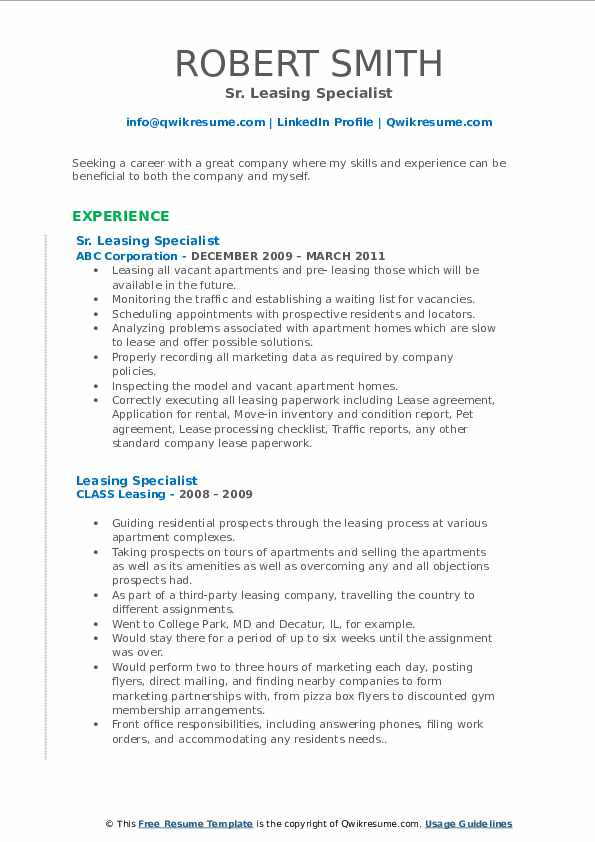 Leasing Manager III Resume Example