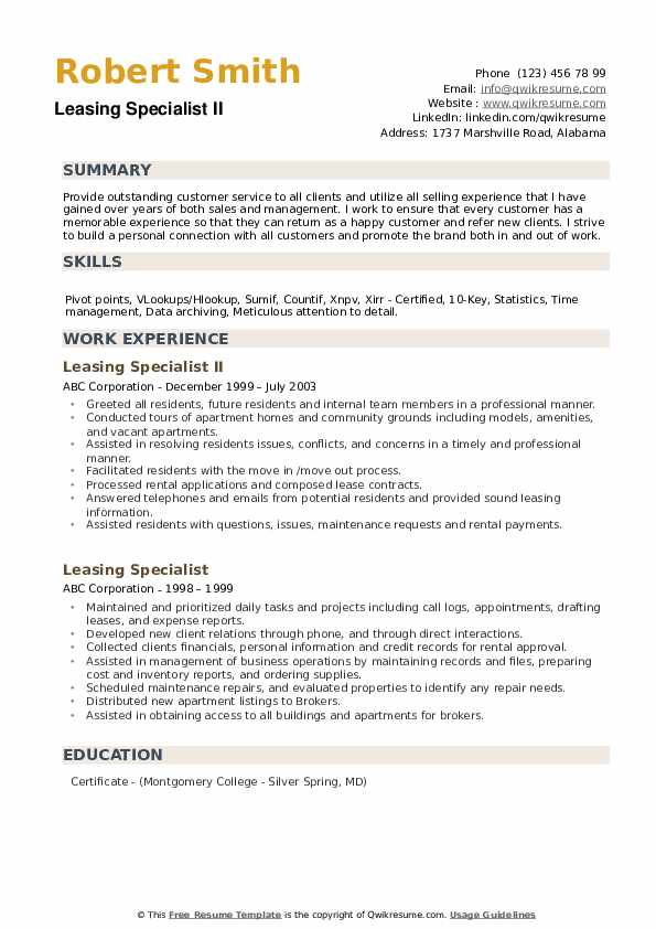Jr. Leasing Manager Resume Sample