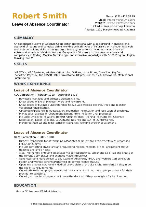 Leave of Absence Coordinator Resume example
