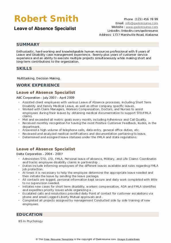 Leave of Absence Specialist Resume example
