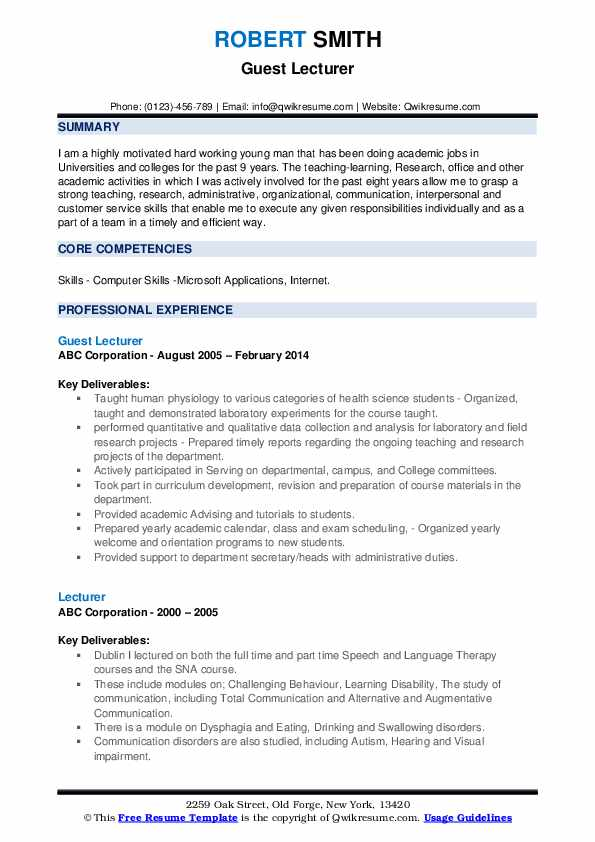 Guest Lecturer Resume Template