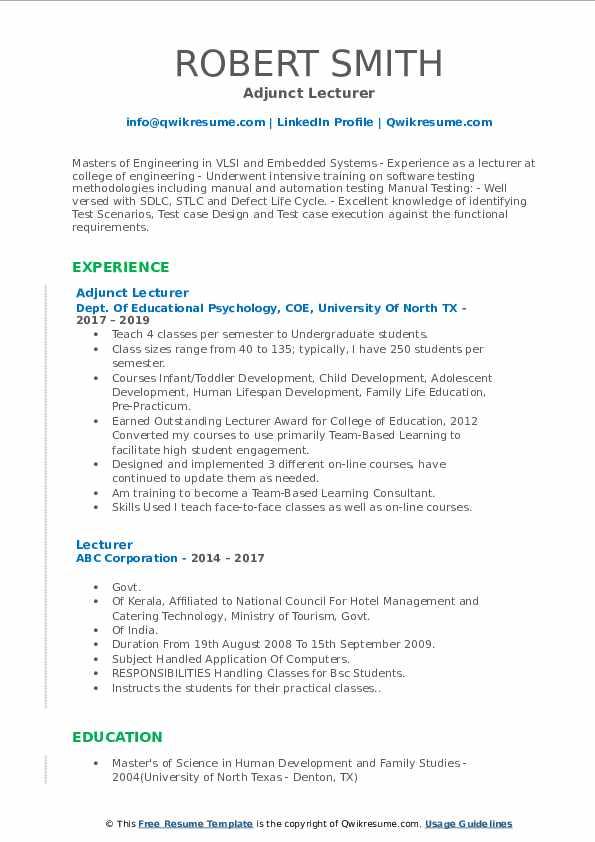 Adjunct Lecturer Resume Model