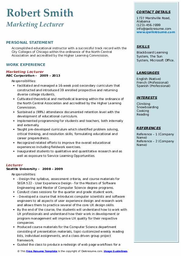 Marketing Lecturer Resume Template