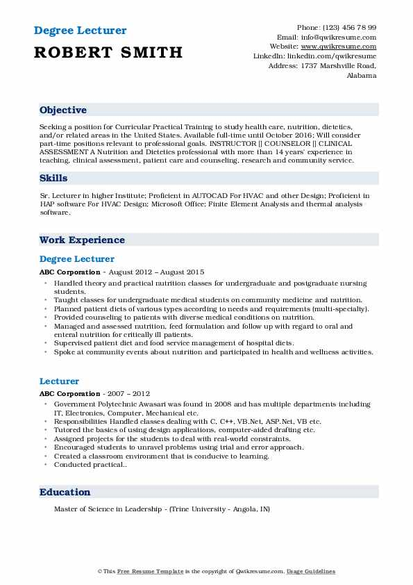 Degree Lecturer Resume Template
