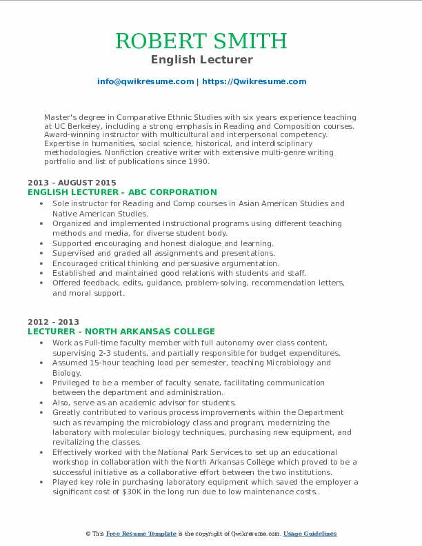 English Lecturer Resume Template