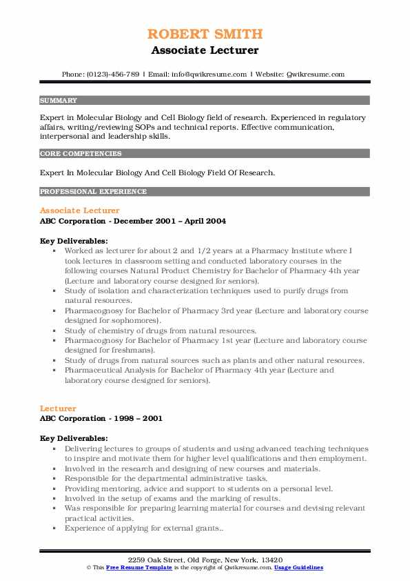 Associate Lecturer Resume Example