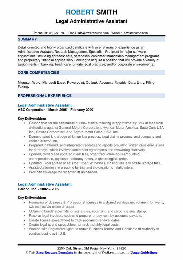 Legal Administrative Assistant Resume Sample