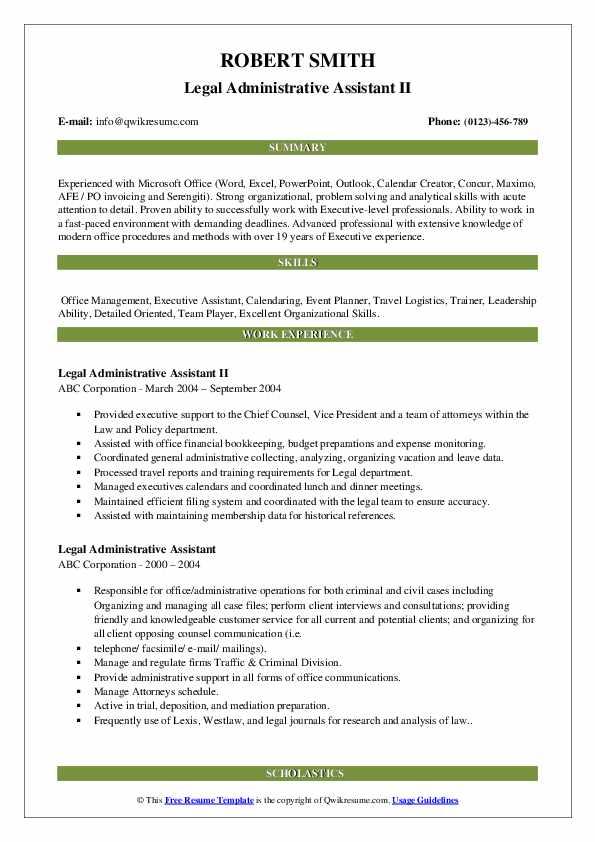 Legal Administrative Assistant II Resume Model