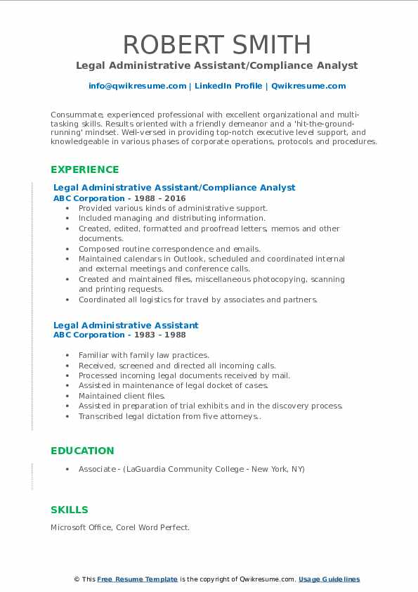 Legal Administrative Assistant/Compliance Analyst Resume Format