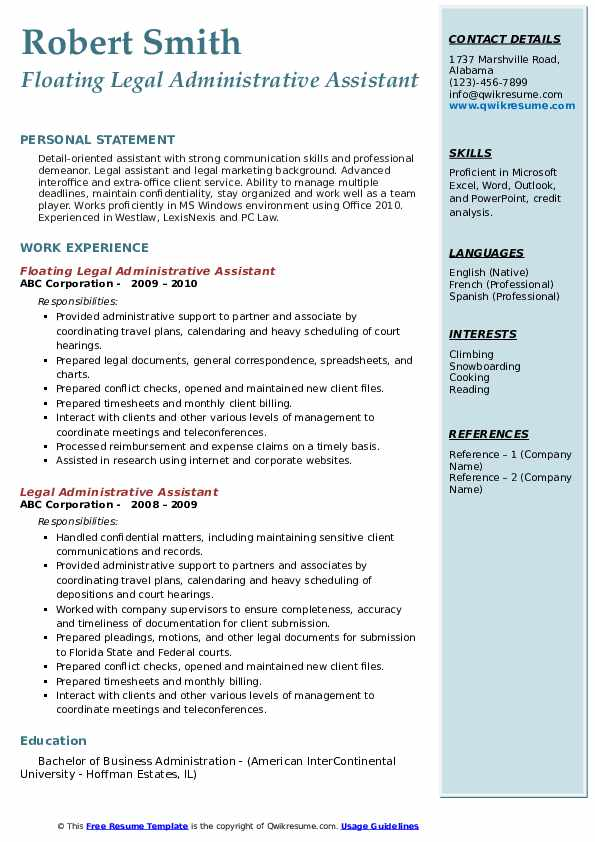 legal administrative assistant resume samples