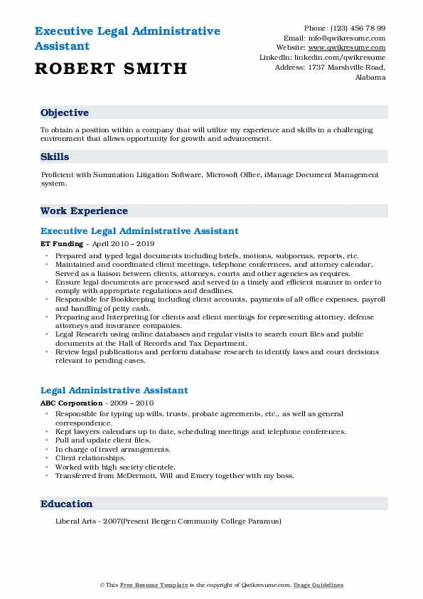 Executive Legal Administrative Assistant Resume Sample