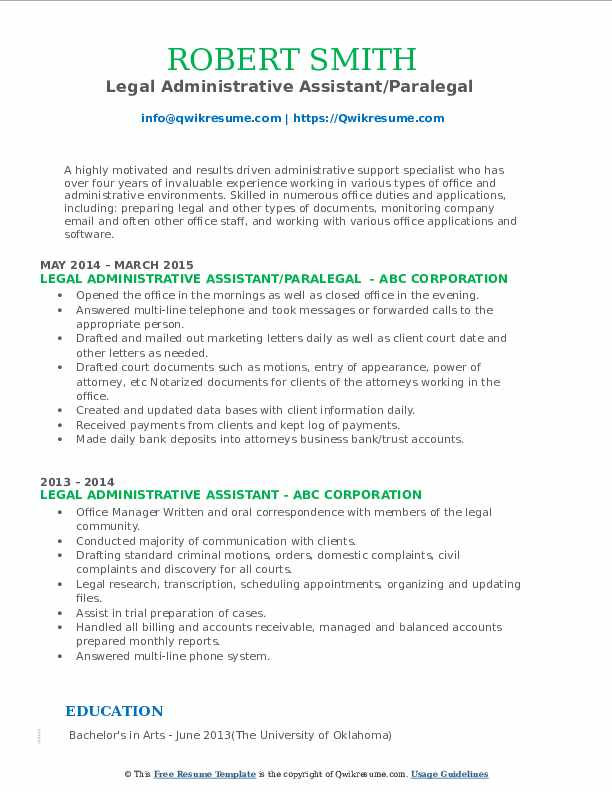 Legal Administrative Assistant/Paralegal  Resume Format