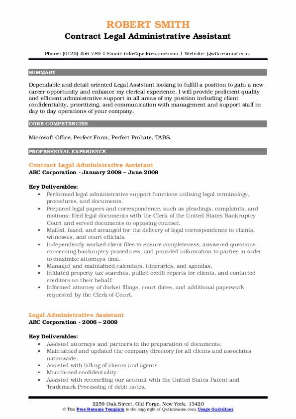Legal Administrative Assistant Resume Samples Qwikresume