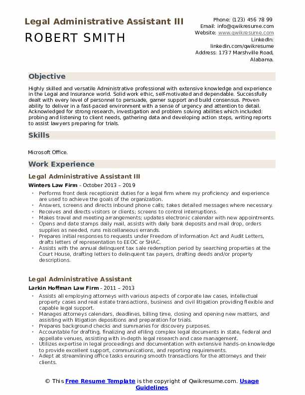 Legal Administrative Assistant III Resume Sample