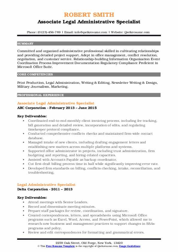 legal administrative specialist resume samples  qwikresume