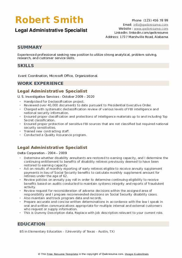 Legal Administrative Specialist Resume example