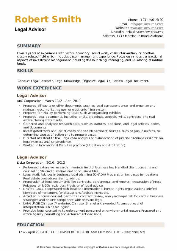 Legal Advisor Resume example