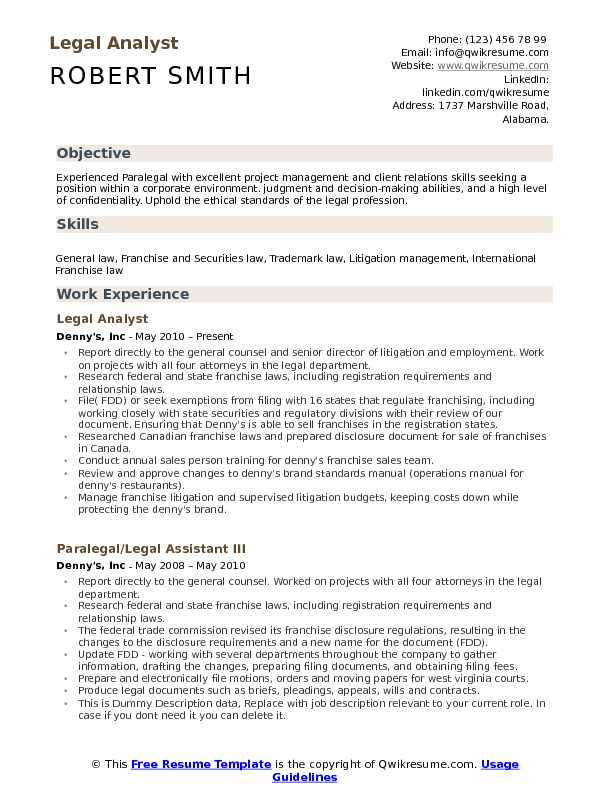 Litigation Analyst Resume