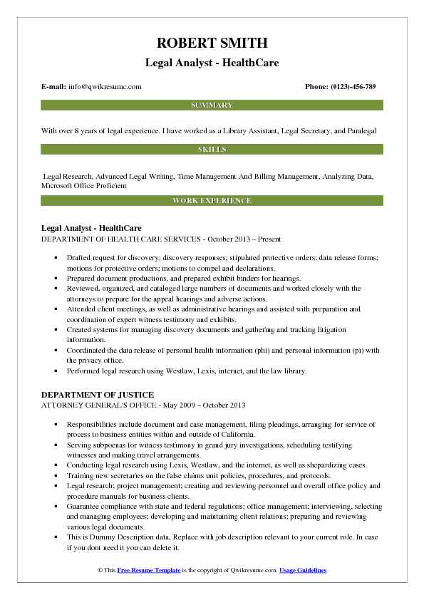 Legal Analyst - HealthCare Resume Model