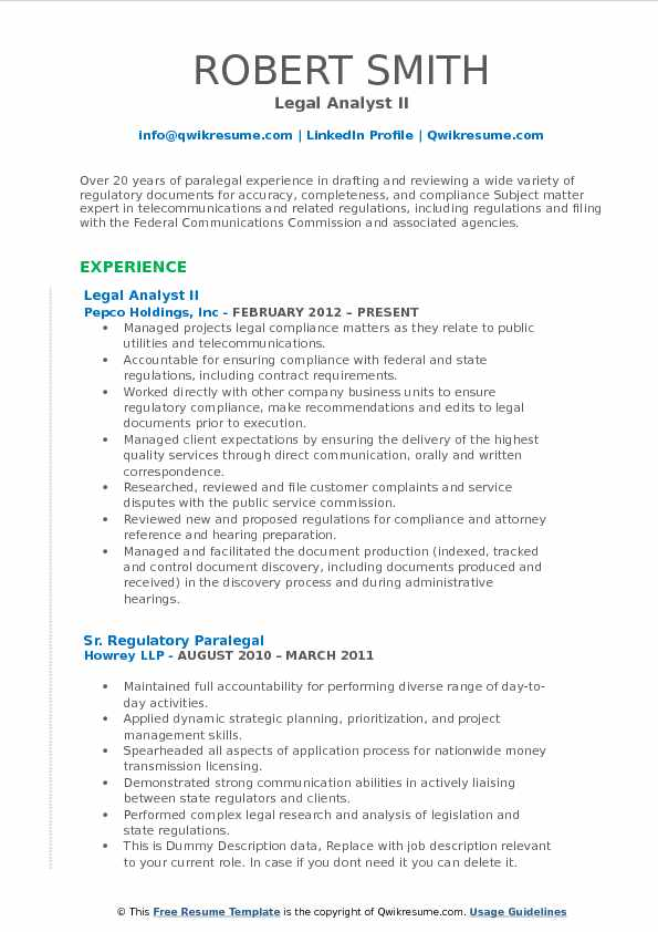 Legal Analyst II Resume Format