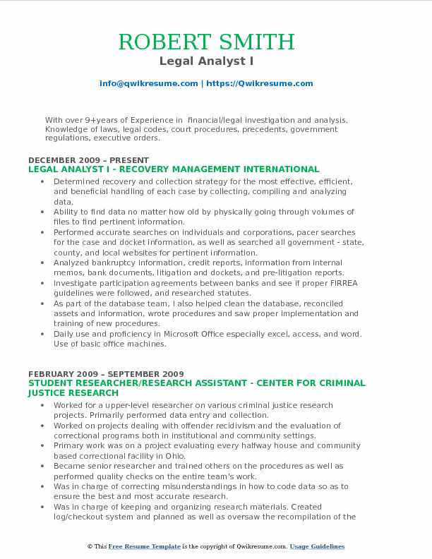 Legal Analyst I Resume Format