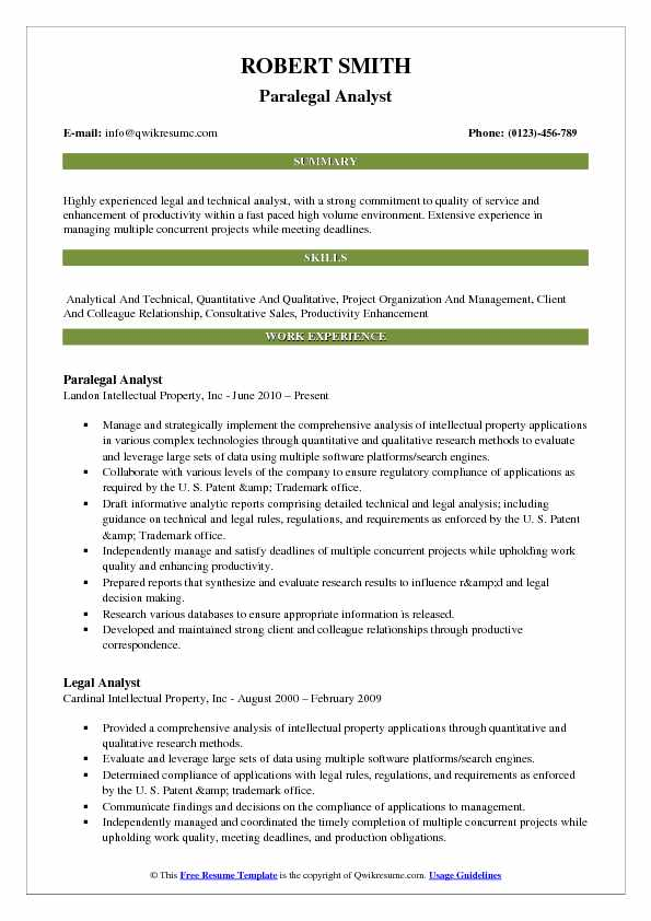Paralegal Analyst Resume Sample