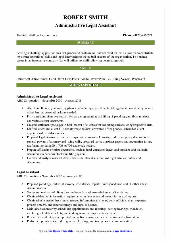 Administrative Legal Assistant Resume Example