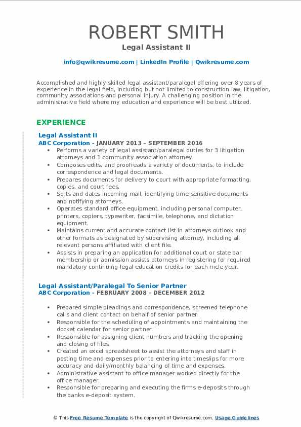 Legal Assistant II Resume Format