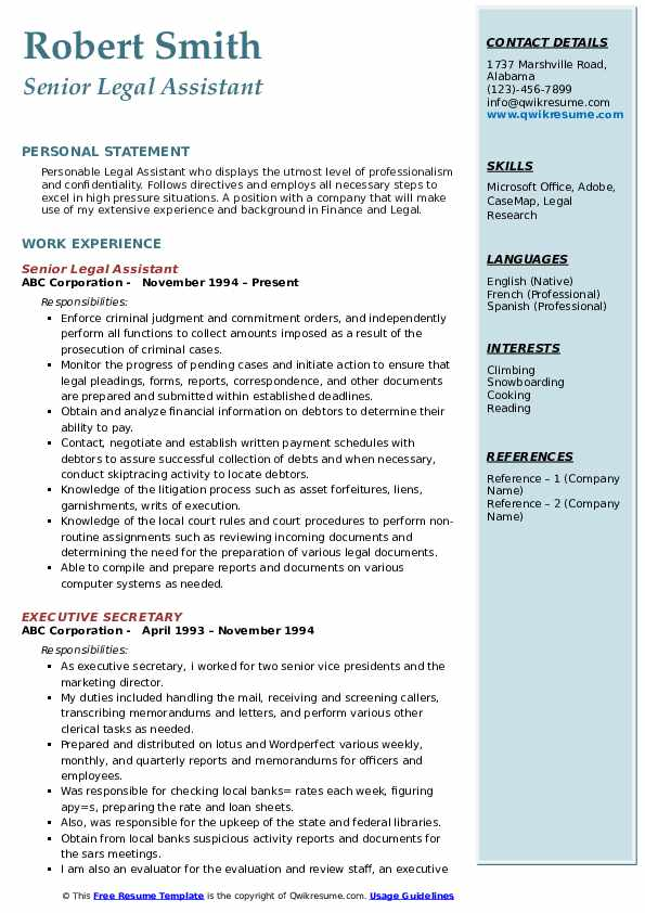 Legal Assistant Resume Samples Qwikresume