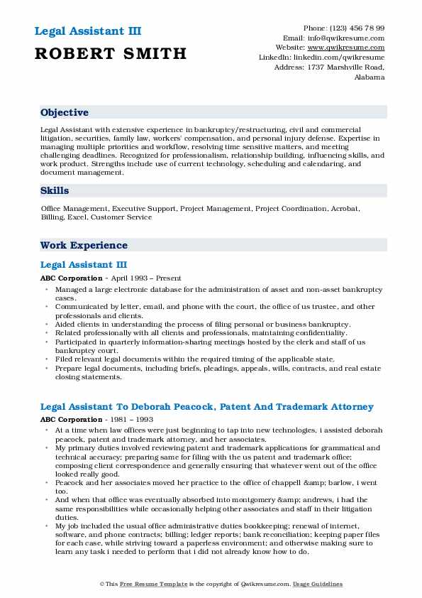 Legal Assistant III Resume Template